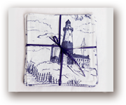 toile cloth coaster